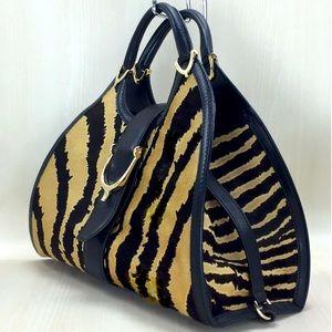 Gucci Stirrup Zebra Design Pony Hair Large Satchel